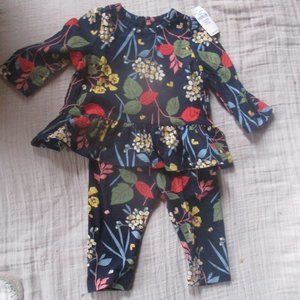 Baby Gap Floral Ruffle Top with Leggings